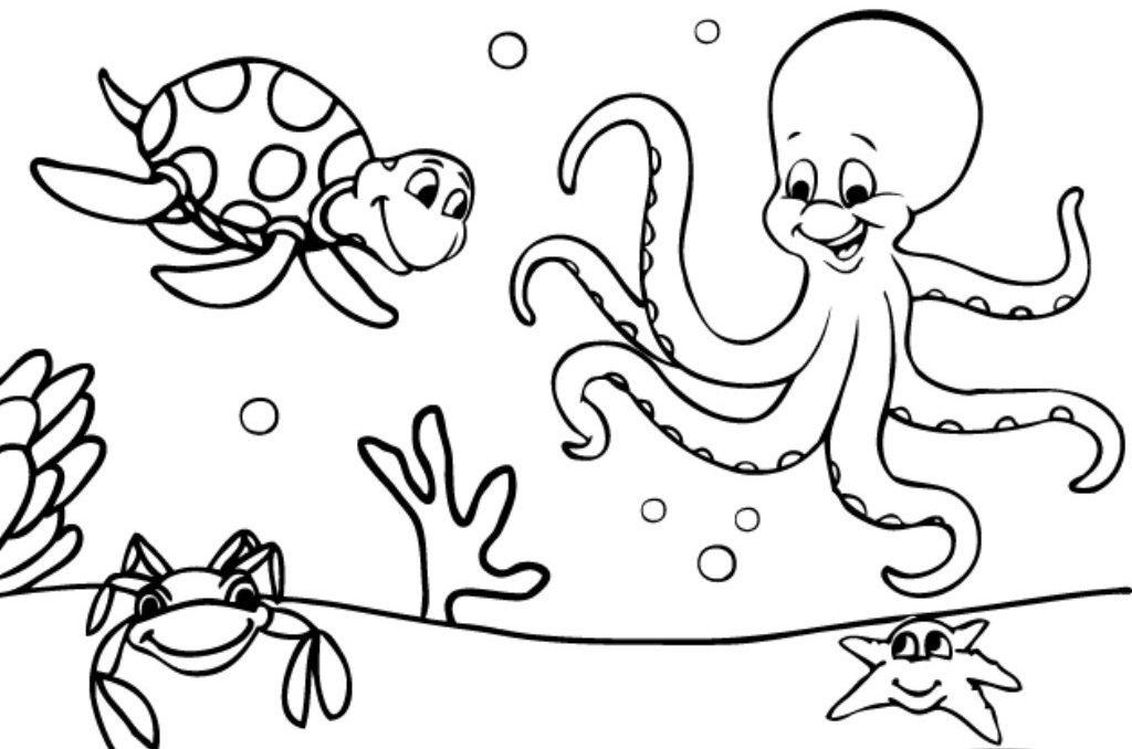 Dibujos Para Colorear Infantiles Dibujos Personajes: Dibujos De Animales Marinos Para Colorear